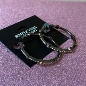 Vera Wang Onyx Hoops with crystal